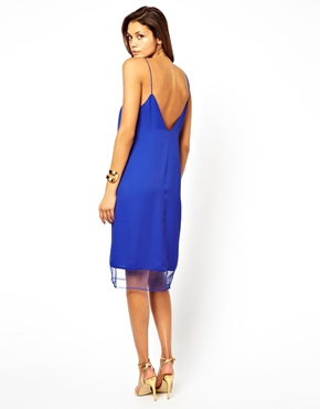 Asos mesh insert midi cami dress at asos