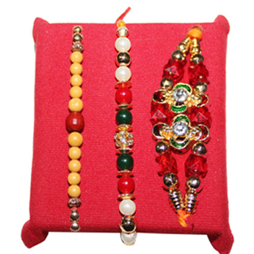 Set of 3 Classic Pearls And Beads Work Rakhi with Sweet