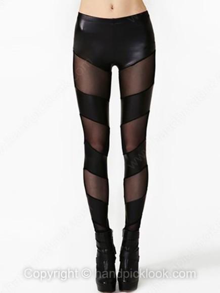 sheer leggings faux leather leggings faux leather panelled sheer leggings paneled mesh-paneled