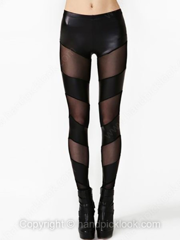 leggings paneled faux leather leggings faux leather sheer sheer leggings panelled mesh-paneled
