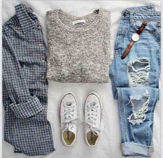 jeans pants denim blue ripped hole holes fray frayed fraying urban cute cool tumblr teenagers girl 90s style grunge vintage retro summer spring fall outfits winter outfits style fashion