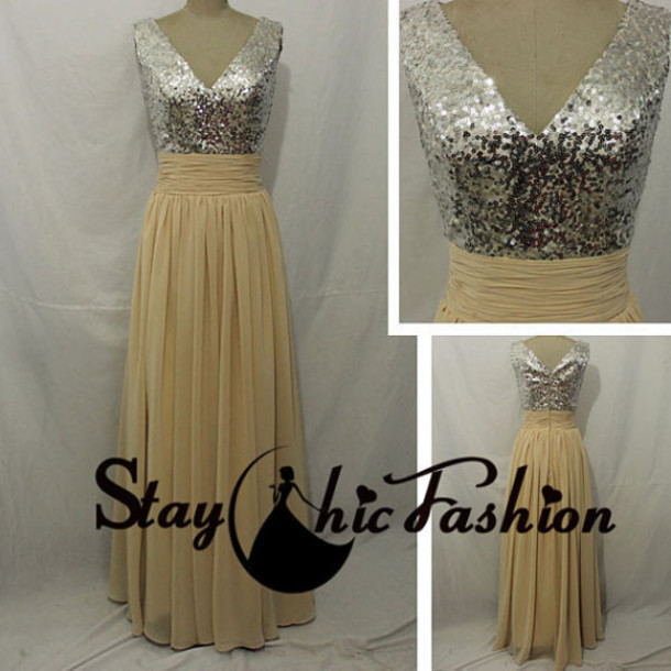 dress prom dress bridesmaid sequined top dress nude long dress chiffon evening dress