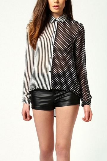 Stripe and Polka Dot Contrast Shirt [FDBI00163] - PersunMall.com