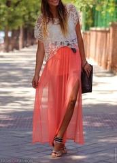 skirt,pink skirt,chiffon skirt,maxi skirt,maxi dress,split skirt