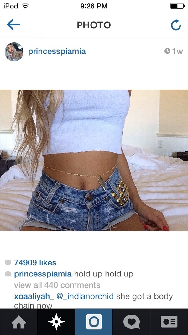 jewels pia mia perez tank top belt shorts cute studded fringes High waisted shorts