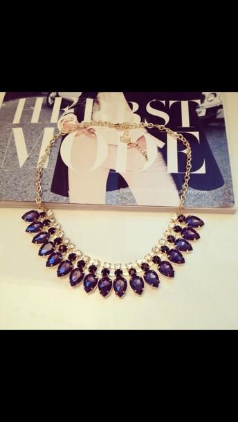 jewels blue statement necklace necklace swarovski