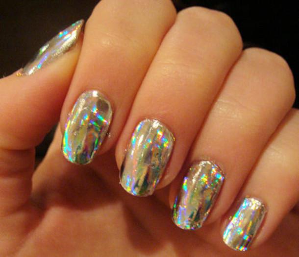 nail polish, holographic, holo, nails, holographic, metallic nails ...