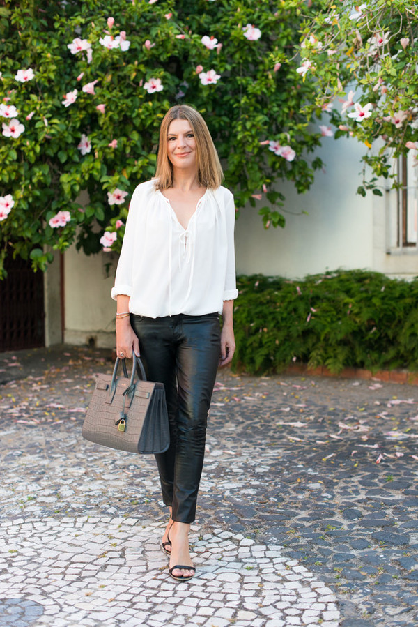 the working girl blogger blouse skirt shoes bag sunglasses jewels