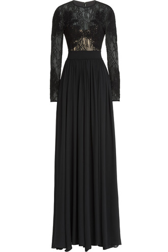 gown embroidered lace silk black dress