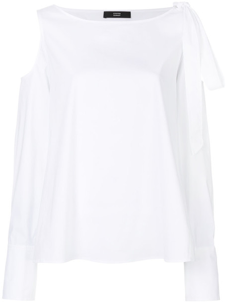 Steffen Schraut shirt women spandex cold white cotton top