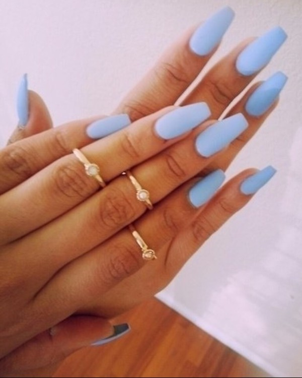 jewels ring knuckle ring blue nails baby blue nail polish