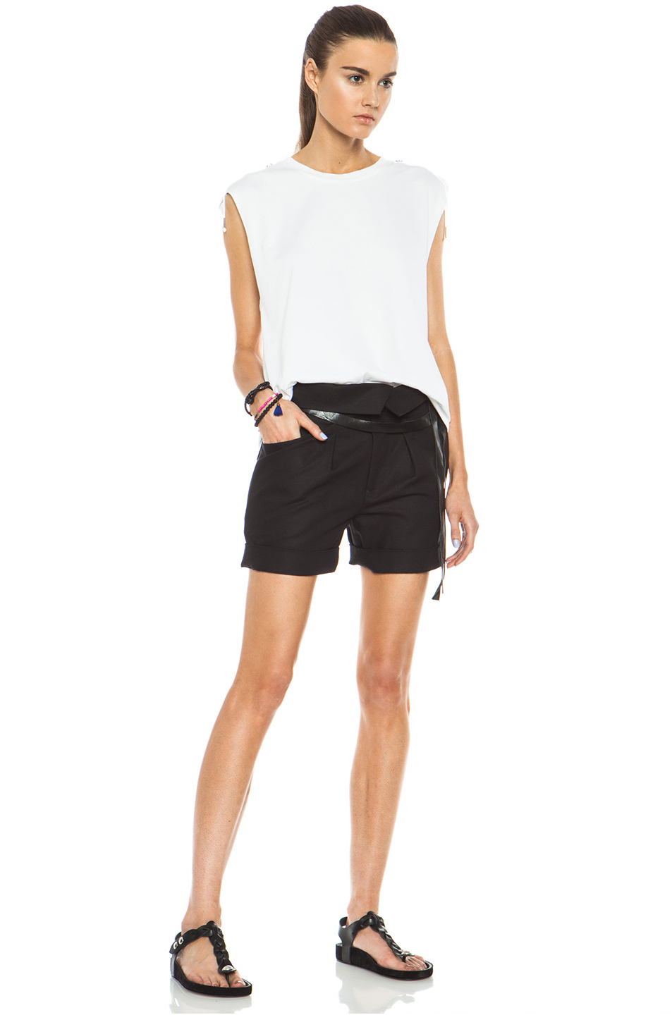 Isabel Marant|Devi Foldover Cotton-Blend Short in Black
