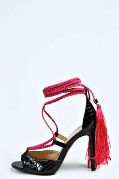 Andrea Plaited Tie Up Leg Peeptoe Heels at boohoo.com