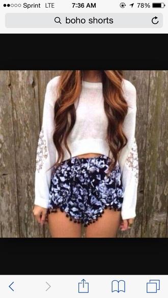 shorts purple black white boho