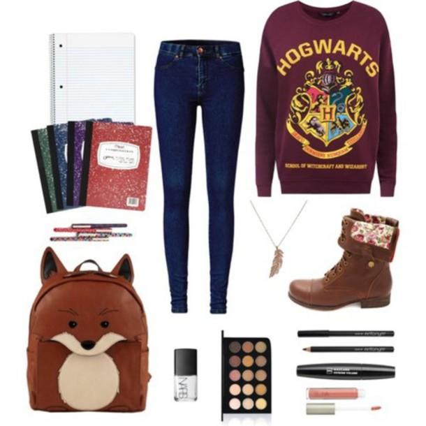 dark red/burgundy hogwarts sweater belt bag