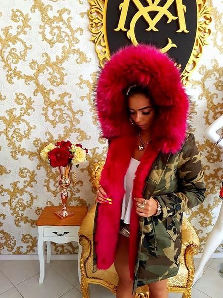 05eef6fd861b3 jacket, camouflage, winter jacket, pink, fur, extravagant, fur hood ...