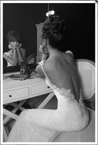 wedding dress white dress vintage wedding dress clothes backless embroidered dress white backless lace dress low back dress cream dress white wedding dress backless  sexy