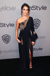 dress,gown,black dress,slit dress,asymmetrical,asymmetrical dress,Golden Globes 2018,nikki reed,maxi dress,one shoulder,shoes