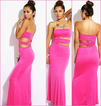 dress pink dress pink maxi dress sexy cute relaxed relax baby shower maxi date dress datenight summer outfits summer dress unique dress unique tube dress style cut-out hot pink shredded clothes fashion tumblr tumblr girl hot beach simple comfy outfits