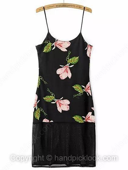 Black A-line Spaghetti Strap Sleeveless Flower Print Dress - HandpickLook.com