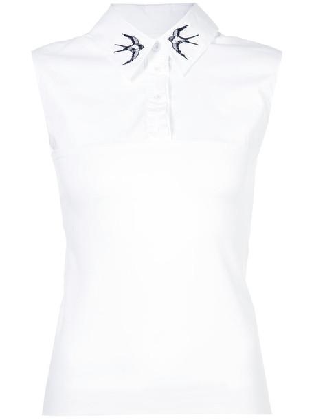 Marc Cain blouse sleeveless women spandex white cotton print top