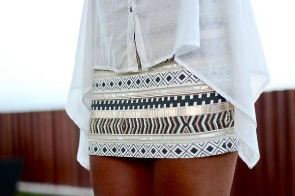skirt aztec white gold black silver grey