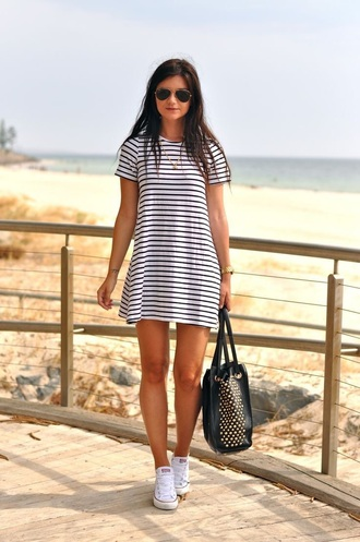 dress t-shirt t-shirt dress striped dress boho casual dress clothes summer purse