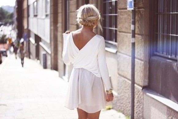 dress short dress backless white dress short prom dress white dress white summer fashion clothe shirt blouse skirt blonde hair tan