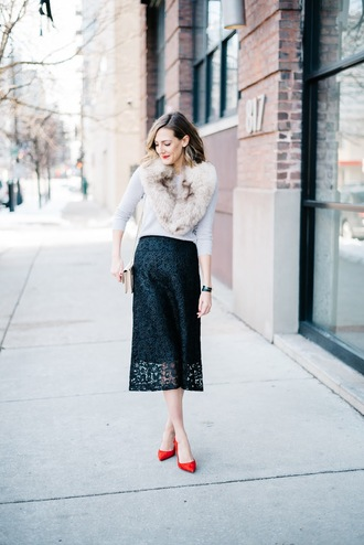 see anna jane blogger pointed flats lace skirt black skirt fur scarf