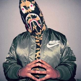 jacket streetwear nike bomber jacket nike bomber jacket bape yung lean sad boys 2001 japanese army green jacket bucket hat chinese sweater