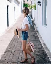 t-shirt,hat,scarf,tumblr,white t-shirt,denim,denim shorts,sandals,flat sandals,sun hat,bag,woven bag,vacation outfits,shoes,shorts