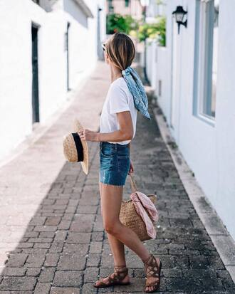t-shirt hat scarf tumblr white t-shirt denim denim shorts sandals flat sandals sun hat bag woven bag vacation outfits shoes shorts