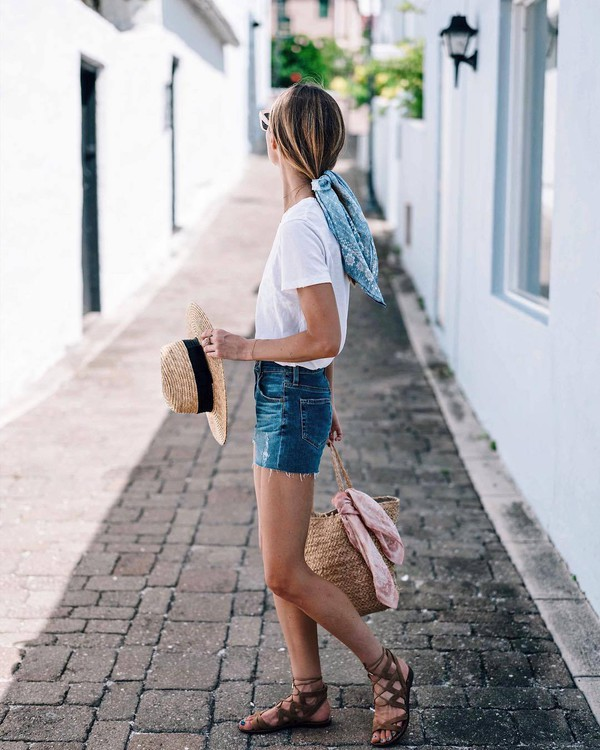 t-shirt hat scarf tumblr white t-shirt denim denim shorts sandals flat sandals sun hat bag woven bag vacation outfits shoes shorts