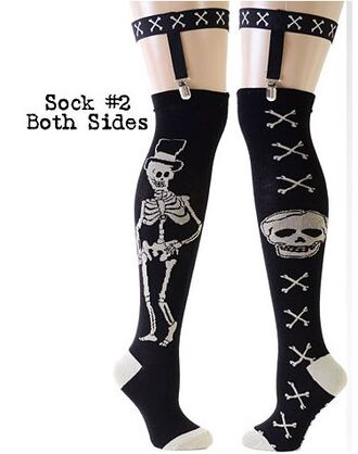 underwear socks garter belt pin up dark skeleton bones black dress