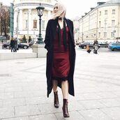 dress,tumblr,slip dress,midi dress,lace dress,burgundy,burgundy dress,coat,black coat,long coat,boots,high heels boots,date outfit,zipped boots,satin dress,satin,silk slip dress