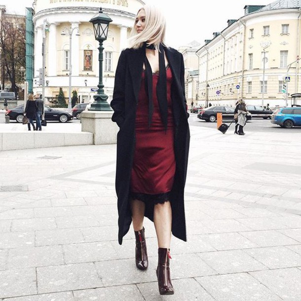 dress tumblr slip dress midi dress lace dress burgundy burgundy dress coat black coat long coat boots high heels boots date outfit zipped boots satin dress satin silk slip dress