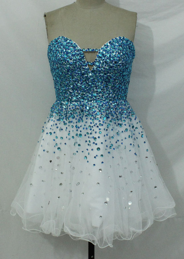 blue d blue white dress blue beaded dress blue rhinestone beaded dress white prom dress 2015 blue short dress white short dress homecoming dress prom dress