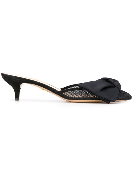 bow women mules leather black satin shoes