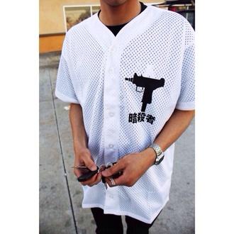 shirt white black baseball jersey dope swag chinese symbols gun