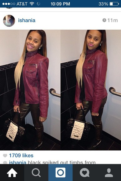 ombre cute blonde hair ishania @ishania wercharm inches gorgeous jacket burgundy purple she so pretty beauty spiked timbs burgundy red burgundy straight hair leather jacket leather bomber jacket