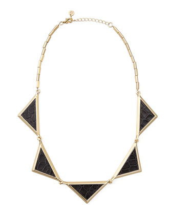 House of Harlow Snake-Embossed Station Collar Necklace - Neiman Marcus