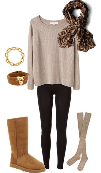 sweater tan boots beige sweater shoes jewels belt scarf cardigan