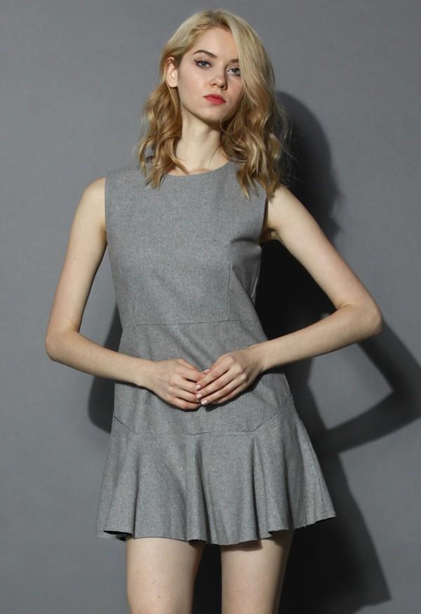 chicwish classic grey wool-blend sleeveless skater dress