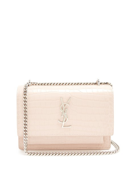 Saint Laurent cross bag leather crocodile light pink light pink