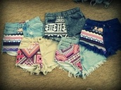shorts,short,tribal pattern,hair accessory,High waisted shorts,pattern,colorful,aztec shorts,azteken,summer,so awesome,jeans