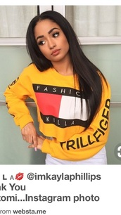 sweater,tommy hilfiger,cute,yellow,black,white,long sleeves