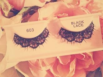 false eyelashes lace black make-up jewels