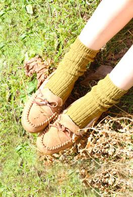 Day by day chunky knit socks in mustard