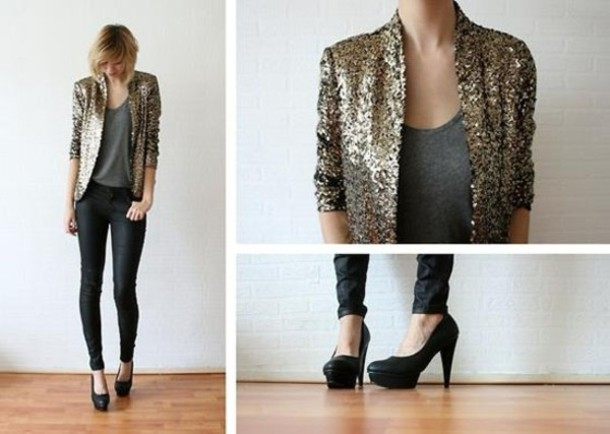 New Kardashian Kollection Collection Gold Sequin Blazer Jacket ...