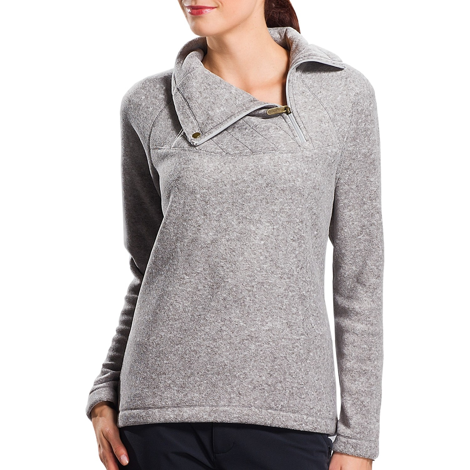 Warm Polar Fleece Pullover Shirt - UPF 50 , Zip Neck, Long Sleeve ...